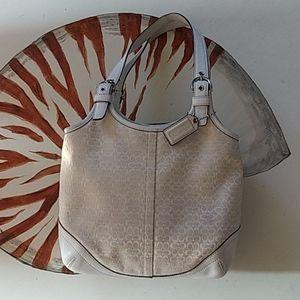Coach signature purse in cream and white